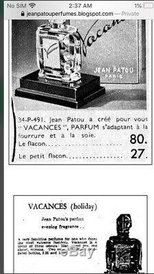 Vtg 1934 Vacance JEAN PATOU Black Glass Art Deco Perfume Bottle Paris France 7