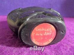 Vtg ART DECO CIRO perfume bottle FIGURAL BLACK KNIGHT antique VIARD French glass