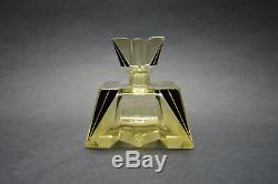 Vtg-Czech-Art-Deco-Citrine-Glass-Black Enamel Perfume Bottle Karl Palda