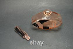 Vtg Czech Art Deco Pink Glass Black Enamel Perfume Bottle Karl Palda