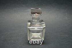 Vtg Czech Art Deco perfume bottle, Clear Glass Black Red Enamel Karl Palda