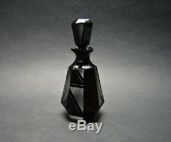 Vtg Czech Art Deco perfume bottle, Frosted Glass Black Enamel Art Glass Haida