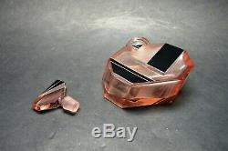 Vtg Czech Art Deco perfume bottle, Pink Glass Black Enamel Karl Palda