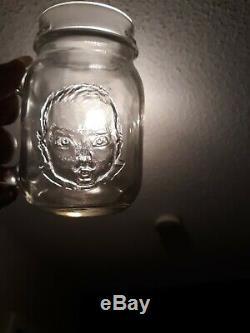 Vtg Error Rare Mistake Mason Jar Black Gerber Baby uncirculated Glass Mug SCARCE