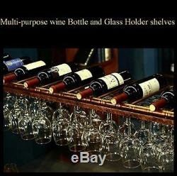 WGX Design For You Wine Bar Wall Rack 60'' Hanging Glass Rack&Hanging Bottle