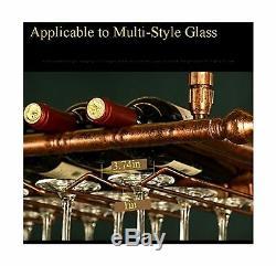 WGX Wine Bar Wall Rack 60'', Hanging Bar Glass Rack&Hanging Bottle Holder Adju