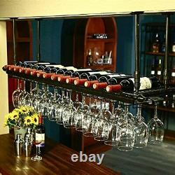 WGX Wine Bar Wall Rack 60'', Hanging Bar Glass Rack&Hanging Bottle Holder Adjusta