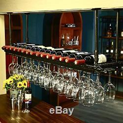 WGX Wine Bar Wall Rack 60'', Hanging Bar Glass Rack&Hanging Bottle Holder Black