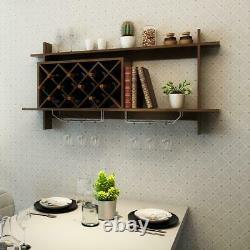 Wall Mount Wine Bottle Rack Organizer With Glass Holder & Storage Shelf