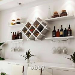Wall Mount Wine Rack Bottle Glass Holder 4 Shelves Bar Accessories Shelf 2 color