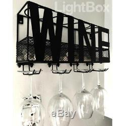 Wall-Mounted Wine Metal Rack Shelf Storage Bottle Glass Holder Bar Home Champagn