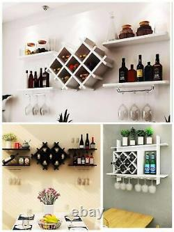 Wall Mounted Wine Rack Bottle Champagne Glass Holder Bar Accessory Metal MDF