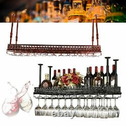 Wall Mounted Wine Rack -Metal Bottle Glass Holder with Hanging Stemware USA