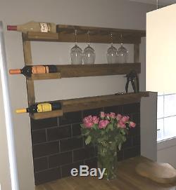 Wall Mounted Wine Rack bottle holder glass shelves vintage farmhouse style bnib
