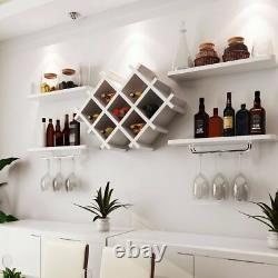 White Black Wall Shelves + Wine Racks Bottle Holder Champagne Glass Storage