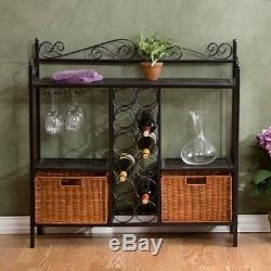 Wine Bar With Baskets Wine Bottle & Glass Storage Holder Liquor Rack Furniture