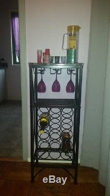 Wine Bottle And Glass Holder Modern Rack Storage Floor Standing Black Kitchen