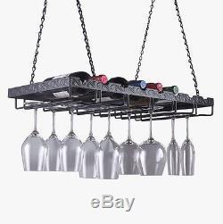 Wine Bottle Storage Glass Holder Hanging Metal Rack Bar Kitchen Ceiling Mounted