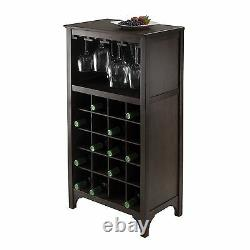 Wine Cabinet With Glass Rack Bottle Holder Wooden Storage Bar Stand Liquor Wood