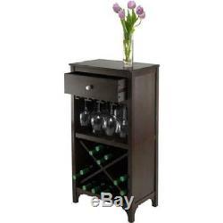 Wine Cabinet Wood Rack 24 Bottle Glass Holder Liquor Storage Home Kitchen Bar
