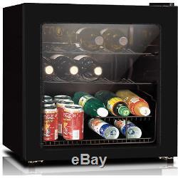 Wine Cooler 16 Bottle Refrigerator Bar Fridge Glass Door Mini Slide Out Shelves