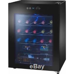 Wine Cooler 24-Bottles Black Storage Chiller Shelves Glass Door Adjustable Cold