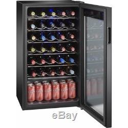 Wine Cooler 34 Bottles Storage Fridge Cold Glass Door Adjustable Chiller Shelves