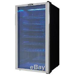 Wine Cooler 35 Bottle Platinum Black Glass Door Frost Free Single Zone Cellar