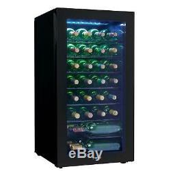 Wine Cooler 36 Bottle Freestanding LED Light Glass Door Mechanical Thermostat
