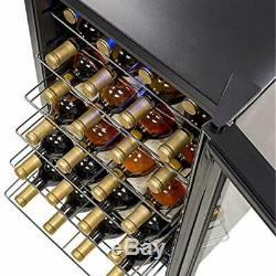 Wine Cooler Refrigerator, 28 Bottle Freestanding Chiller Fridge, Black Glass