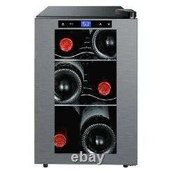 Wine Cooler Refrigerator Freestanding 6 Bottles Glass Door Soft Touch Display