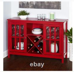 Wine Glass Buffet 10 To 12 Bottles Enclosed And Open Storage Red Black