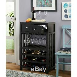 Wine Rack Bar Supply Wood Shelves 20 Bottles Elegant Tower Glass Slats Drawers
