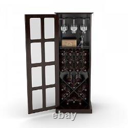 Wine Rack Storage Cabinet Holds 24 Bottles and 8 Wine Glasses Door Espresso New