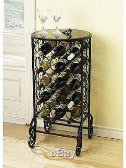 Wine Rack Table 15 Bottle Stackable Storage Bar Metal Display Holder Glass Top