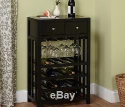 Wine Rack Tower Kitchen Cabinet Wooden 20 Bottles 12 Glasses Drawers Black Gloss