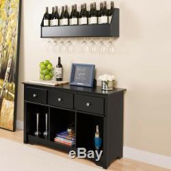 Wine Rack Wall Mount Wood Black Glass Floating Bar Shelf Bottle Holder Storage
