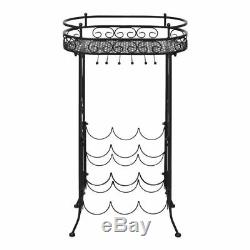 Wine Rack with Glass Holder for 9 Bottles 1' 6 x 11 x 2' 7 Wrought iron