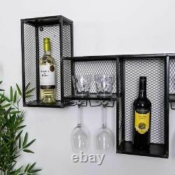 Wine Wall Cabinet Industrial Metal Bottle Storage Retro Glass Display Rack New