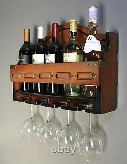 Wood Kitchen Bar Wine Storage Rack Wall Mounted Hanging Bottle Glass Holder New